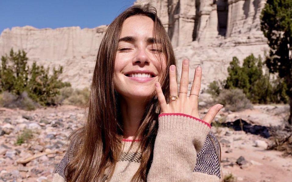 ¡Habrá boda! Lily Collins presume su anillo de compromiso (Instagram)