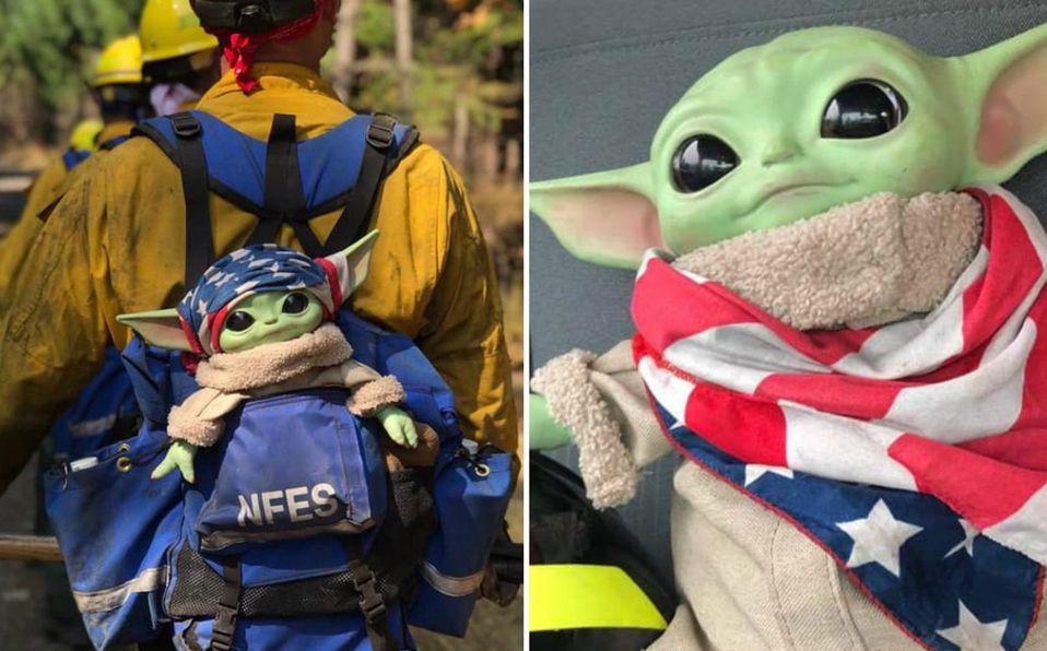 Los bomberos comparten fotografías de cada una de sus misiones junto a 'Baby Yoda' (Facebook).